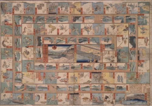 Sugoroku board game - Theme : perambulating along the Tōkaidō, each square represents one of the 53 post stations. Format: 53,4 × 74,8 cm. Artist: Utagawa Hiroshige