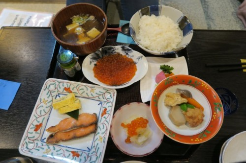 Salmon dinner set in Chidori restaurant