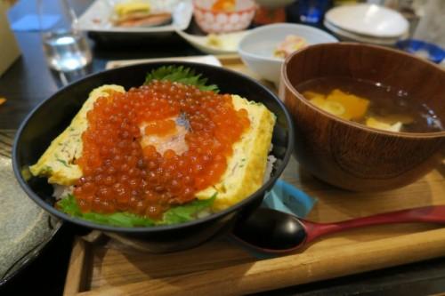 Ikura don and Miso soup