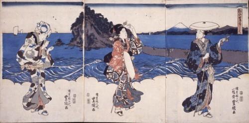 Pilgrim women on the road to Enoshima island. Artist: Utagawa Kunisada.