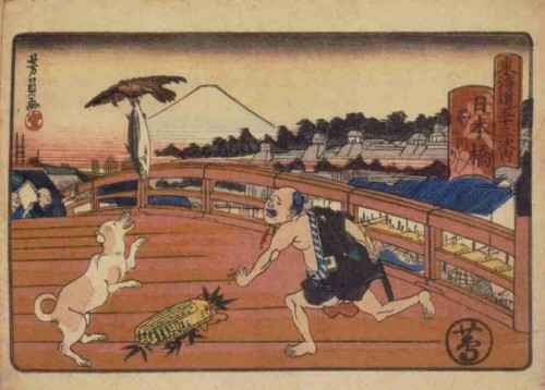 During the Edo period, there was a fish market by the Nihonbashi Bridge, the starting point of the Tōkaidō road. The Edo people's favorite local fish was bonito. Akite is stealing a man's bonito. Artist: Utagawa Yoshikazu.