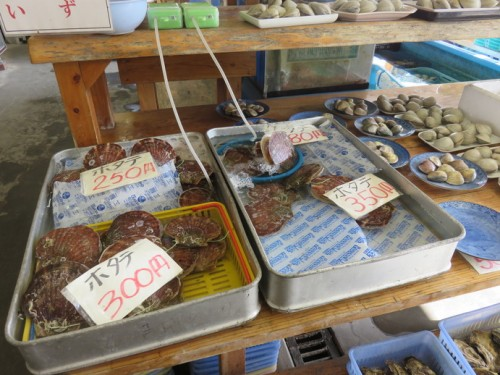 a wide selection of shellfish kept in fresh water.