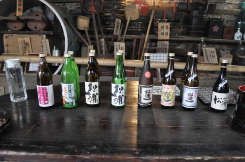 Sake lineup at Matsuura Ichi Shuzo in Saga prefecture