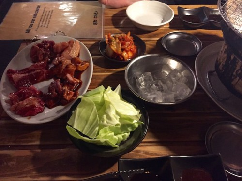 All you can eat meat and vegetables at japanese bbq