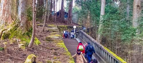 The many stairs up to Okumiya in Toshogu