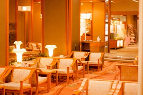 The main lobby at Yahata-ya which is a renowned Japanese Resort in Fukushima prefecture.