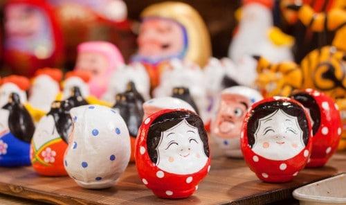 Hariko Puppe ist aus einer Art Papiermaché hergestellt, Fukushima, Tohuko, Japan