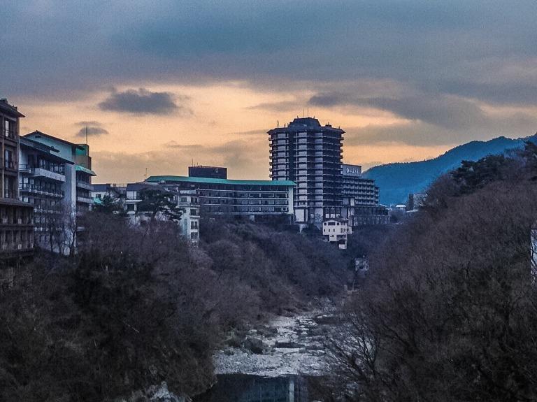 Sunset in onsen village in Nikko