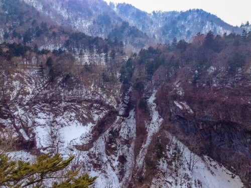 Mt. Tanai covered in both greenery and snow