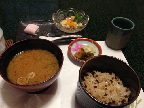 Rice, miso soup in the end of my dinner, Mino city, Gifu prefecture