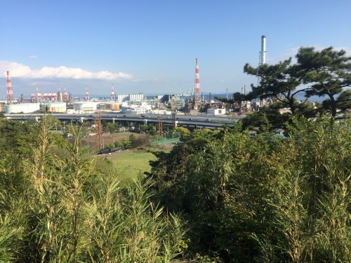 This is the City View from Sankeien Japanese garden.