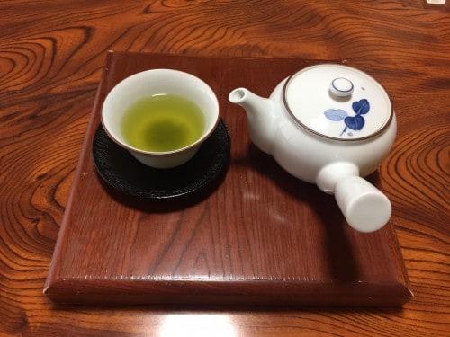 Served Japanese tea at the ryokan in Takayu onsen,Fukushima, Japan.