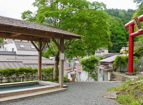 A Foot Bath Alongside a Shinto Shrine in Tsuchiyu onsen village, Fukushima, Japan