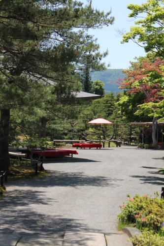 Tea house at Jorakuen Japanese Garden, Fukushima, Japan.