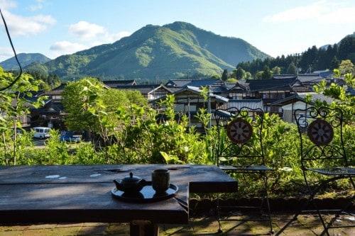 Minshuku Frühstück auf der Terasse, Takane, Niigata, Japan