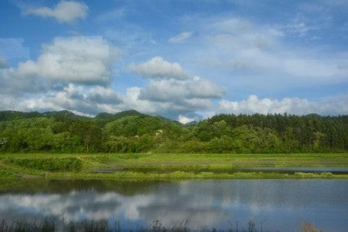 Tolle Aussichten während Busfahrt, Murakami, Niigata, Japan