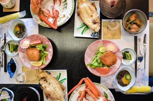 A seafood dinner which was offered by Minshuku Takimoto on Sado island, Niigata, Japan