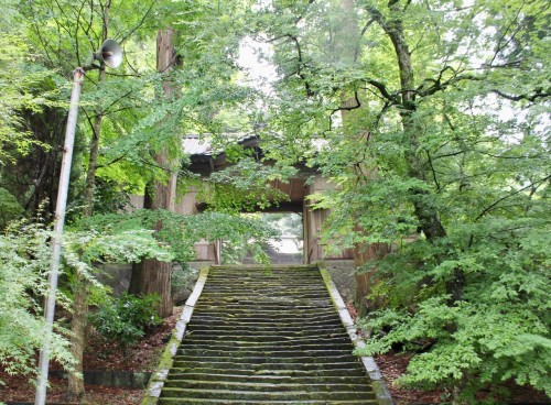The stairs to the Ninomiya Hachimangu shrine in Oita prefecture, Kyushu, Japan.
