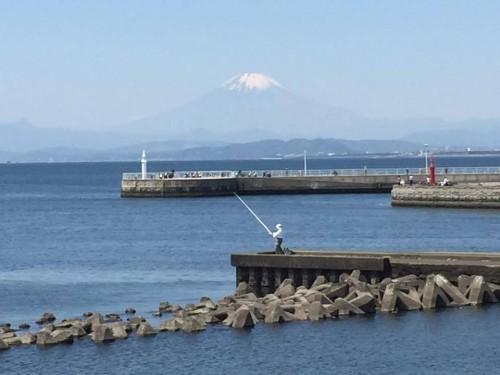 Mount Fuji, the view from Enoshima island, Japan.