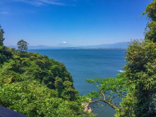 From the Enoshima island looking at Mount Fuji.
