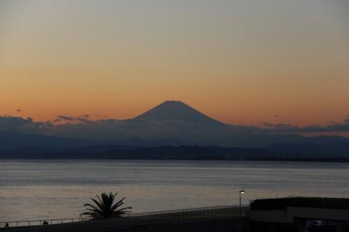 The view of Mount Fuji from Enoshima island, Kanagawa prefecture, Japan.