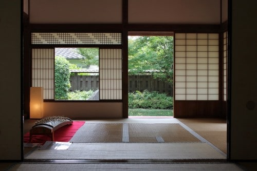 Traditional Japanese Style Room with a Koto (Instrument).Kitsuki is a castle town in the Oita Prefecture, Kyushu.