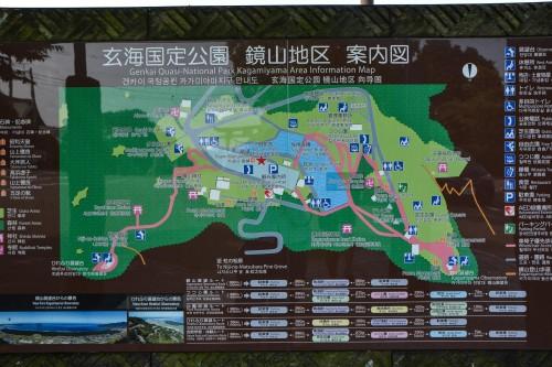 The map of Kagamiyama park, Karatsu, Saga, Japan
