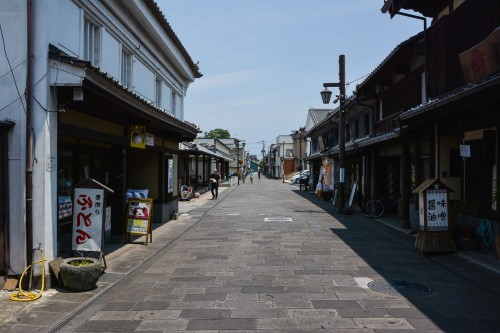 A commercial street in Usuki, Oita prefecture, Kyushu, Japan.