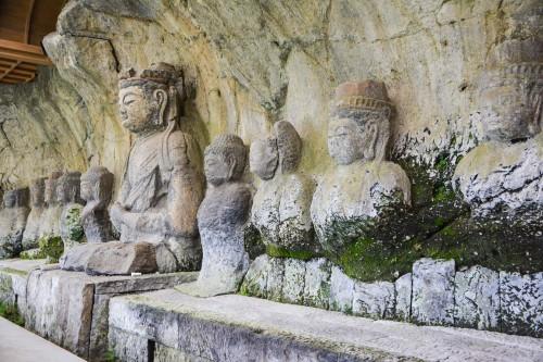 The most famous Buddhist Statue, Usuki Buddha Statues at Usuki city, Oita prefecture, Kyushu, Japan.