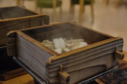The steamed beef, the main dish for dinner at Mifuneyama Kanko Hotel, Saga prefecture, Kyushu.