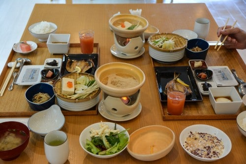 The breakfast meals at Mifuneyama Kanko Hotel, Saga prefecture, Kyushu.