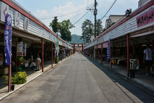 The main street to Yutoku inari shrine, there are many restaurants!