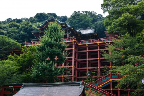 the shrine is built on a hillside, Yutoku inari shrine.