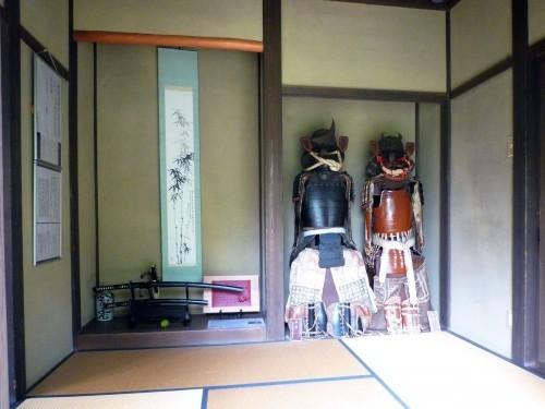 Armors on display inside a samurai residence in Murakami.