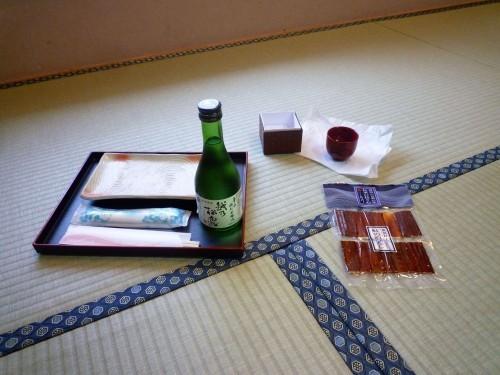 Murakami sake and thin sliced salmon, for Sake no sakebitashi.