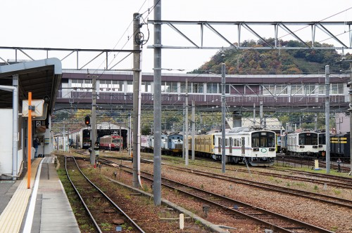 Ohmi Railway: Vintage and Colourful Trains in Shiga Prefecture, Japan.