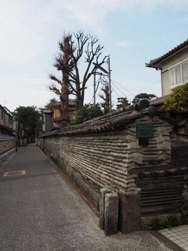 Dobei Wall at Yanesen area  in Tokyo, Japan.