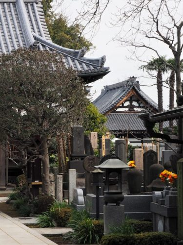 The Yanaka cemetery in the old town area of Tokyo, Japan.