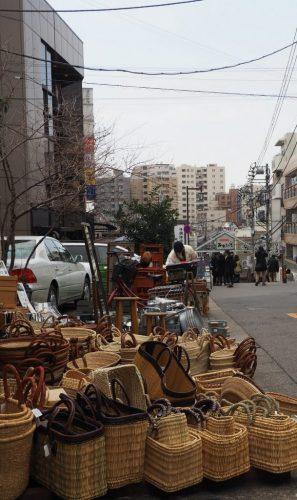 Baskets for sale at Yanaka, Japan.