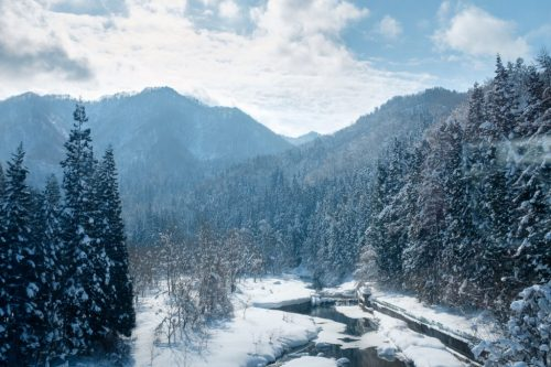 Rural Winter Snow Country and Mountains by Shinkansen