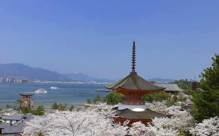 Miyajima island with cherry blossoms in Hiroshima Prefecture.