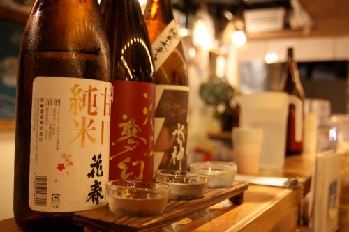 Many kinds of local sakes are available at Akasaka Bar Yokocho, Tokyo.