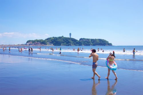 Katase beach in Enoshima Island, close to Tokyo