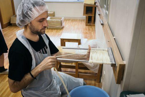 Inaniwa udon hands-on workshop at Sato Yosuke udon restaurant, Yuzawa, Akita.