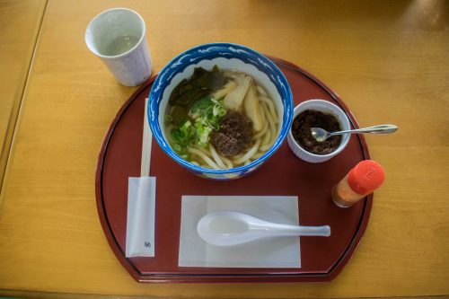 Bowl of udon with local ingredients on Ohnyujima Island, Oita Prefecture, Japan