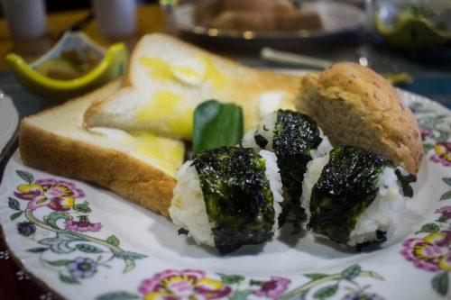Japanese breakfast at a farm near Usuki town, Oita Prefecture, Japan