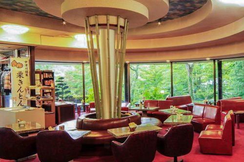 The bright lounge of Iwasu-so Hostel in Nakatsugawa, Gifu Prefecture, Japan