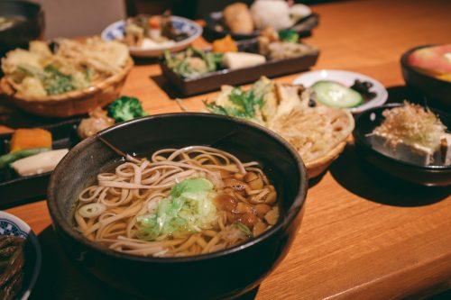 Traditional meal at UNESCO World Heritage site Gokayama village, Toyama Prefecture, Japan