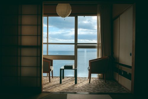 A view of Toyama Bay from a ryokan in Himi city, Toyama Prefecture