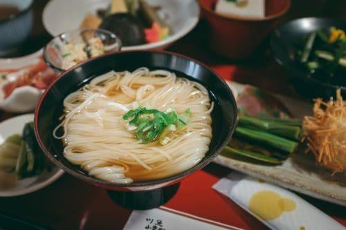 Bowl of somen noodles.